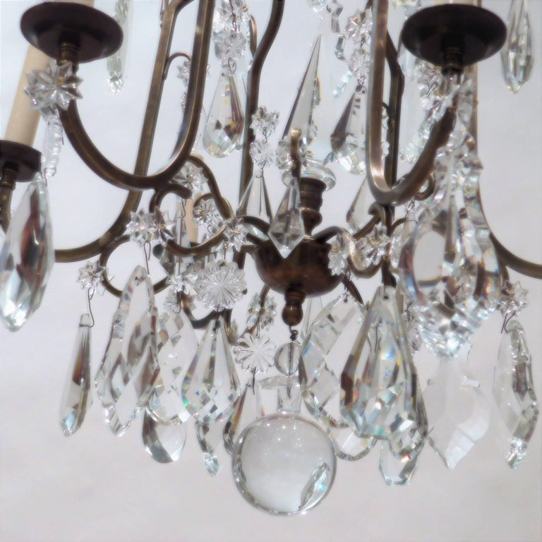 Louis XV Style Aged Brass and Crystal Six-Light Chandelier, France, circa 1930 For Sale 3