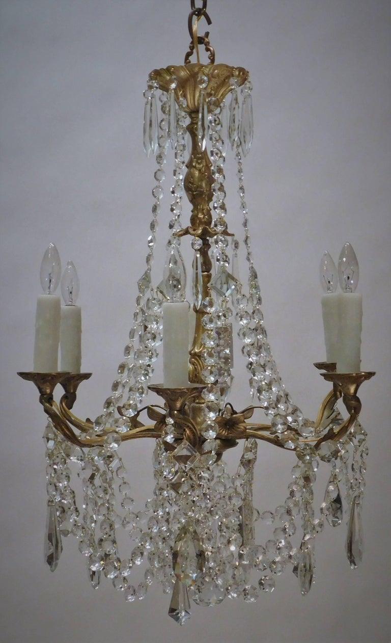 Louis XV Gilt Brass and Crystal Six-Light Chandelier, Sweden, Circa:1935 2