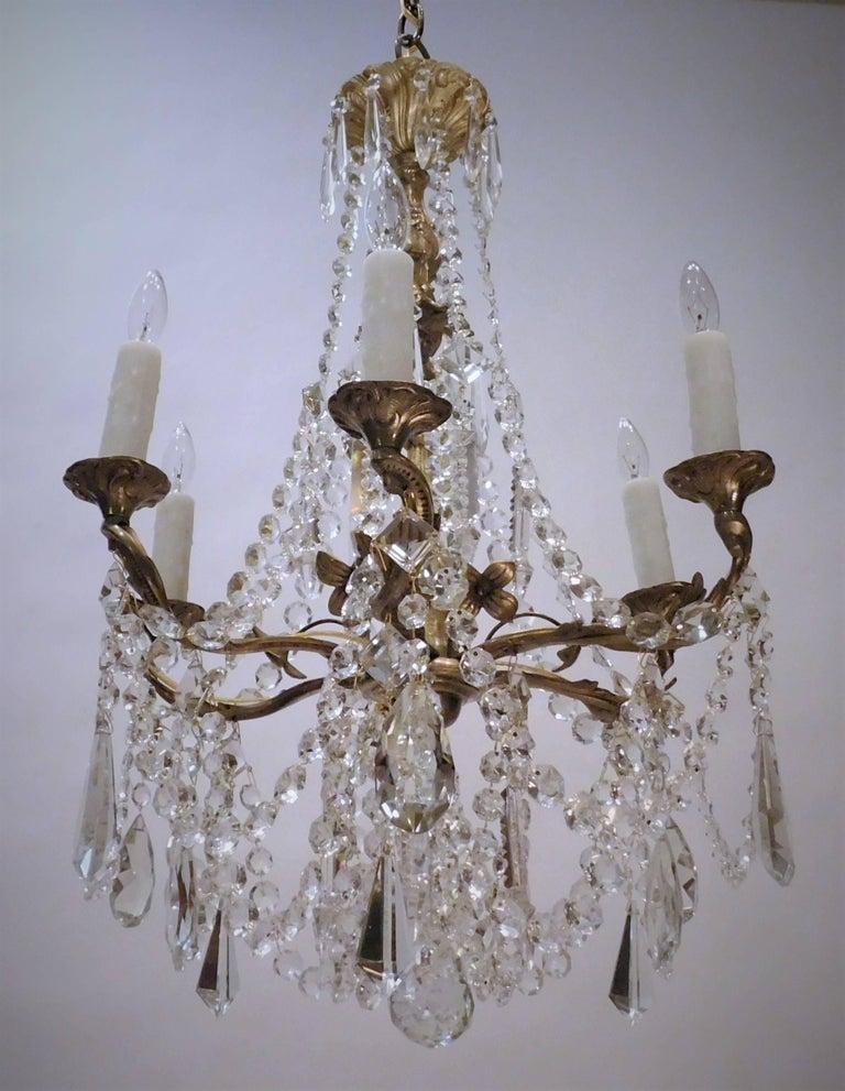 Louis XV Gilt Brass and Crystal Six-Light Chandelier, Sweden, Circa:1935 3