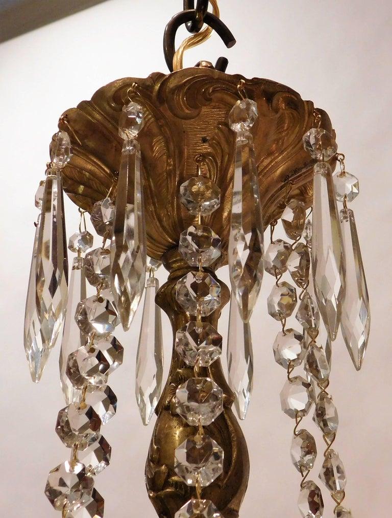 Louis XV Gilt Brass and Crystal Six-Light Chandelier, Sweden, Circa:1935 4