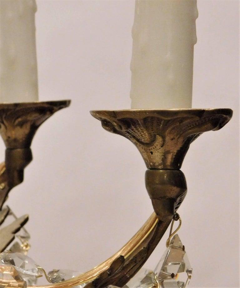 Louis XV Gilt Brass and Crystal Six-Light Chandelier, Sweden, Circa:1935 5