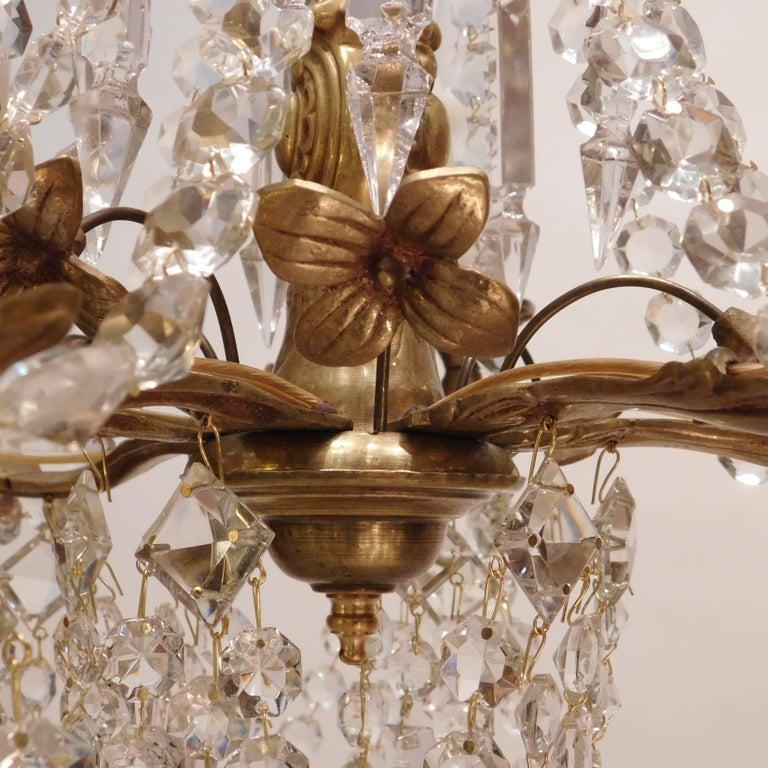 Louis XV Gilt Brass and Crystal Six-Light Chandelier, Sweden, Circa:1935 7
