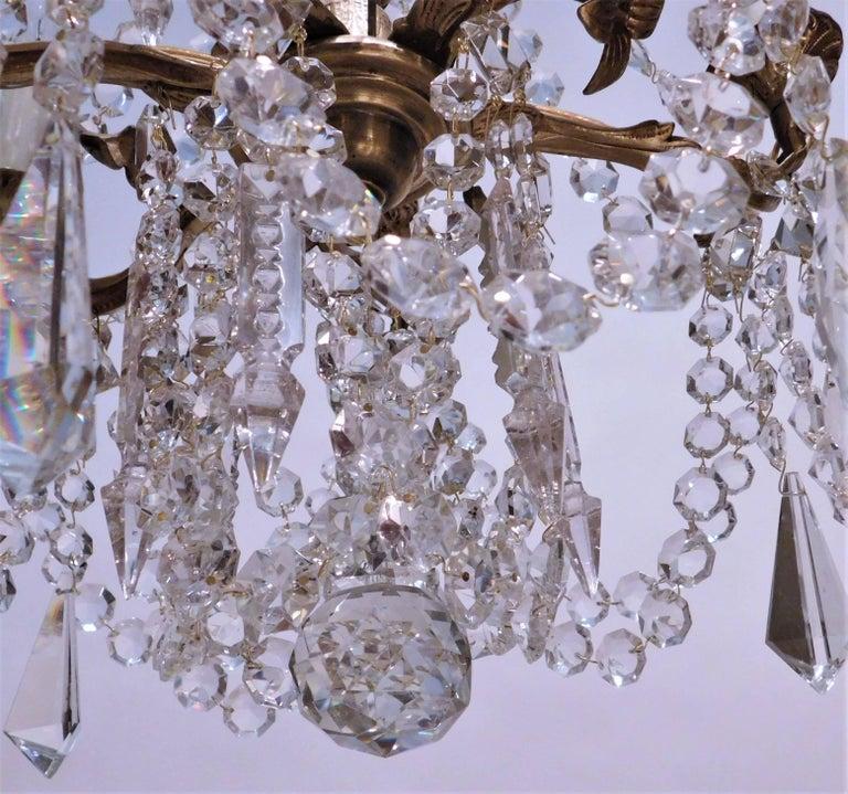 Louis XV Gilt Brass and Crystal Six-Light Chandelier, Sweden, Circa:1935 8