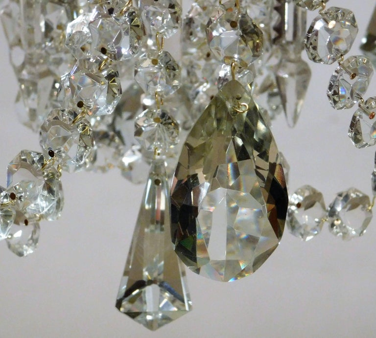 Louis XV Gilt Brass and Crystal Six-Light Chandelier, Sweden, Circa:1935 9