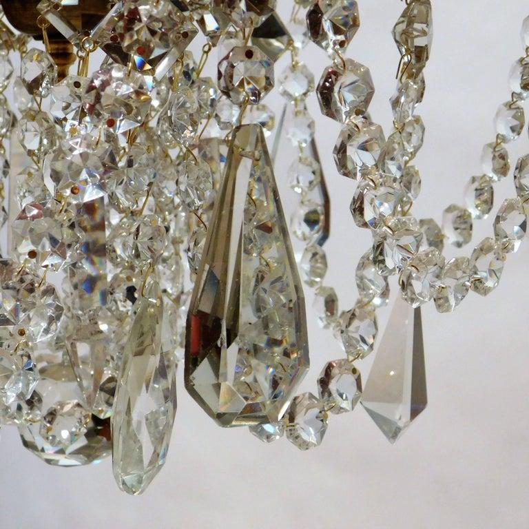 Louis XV Gilt Brass and Crystal Six-Light Chandelier, Sweden, Circa:1935 10