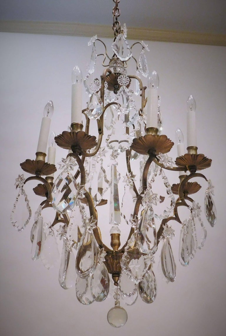 French Louis XV Style Eight-Light Bronze and Crystal Chandelier, France, circa 1900 For Sale