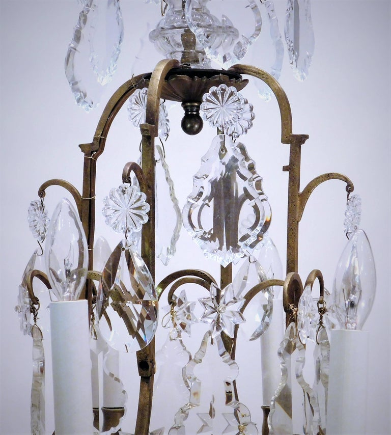 20th Century Louis XV Style Eight-Light Bronze and Crystal Chandelier, France, circa 1900 For Sale