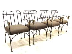 Giacometti Style Iron and Bronze Jaguar Set of Chairs