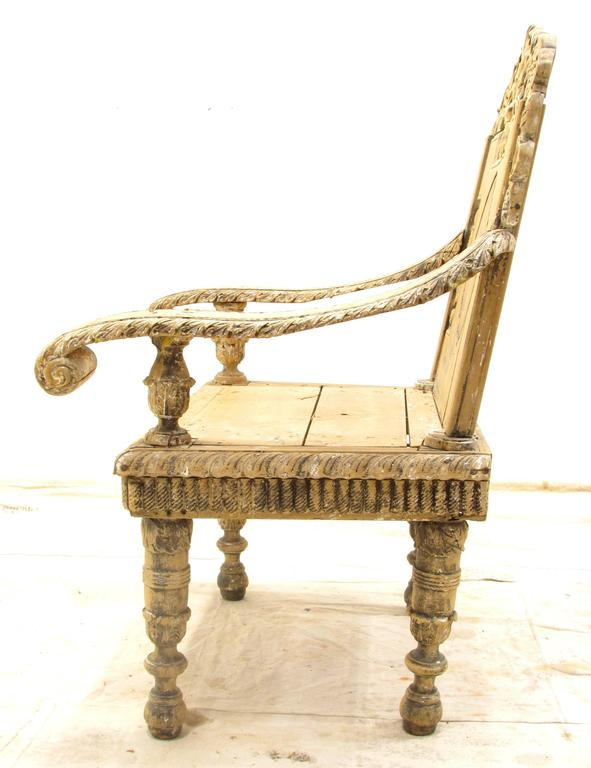 Anglo-Indian Antique Weathered India Throne Chair For Sale