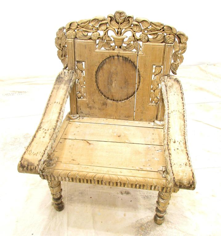 Indian Antique Weathered India Throne Chair For Sale
