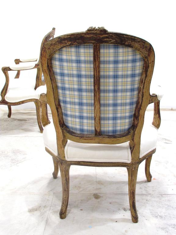 Fabric Pair of Louis XV Style Fauteuils For Sale