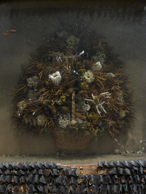 Rustic Antique Victorian Dried Flower Basket Diorama For Sale