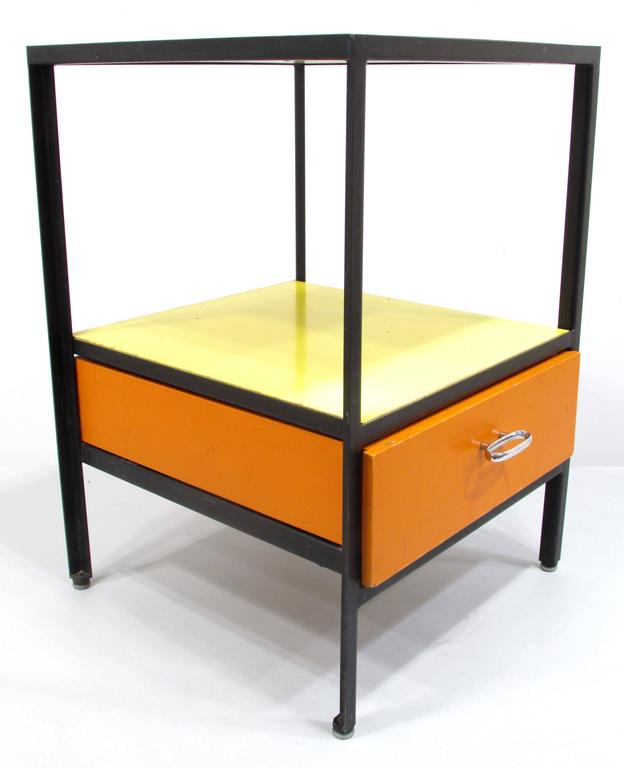Mid Century Modern George Nelson Steel Frame Side Table For Sale