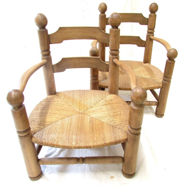 Rush Pair of French Oak Low Fireside Chairs For Sale