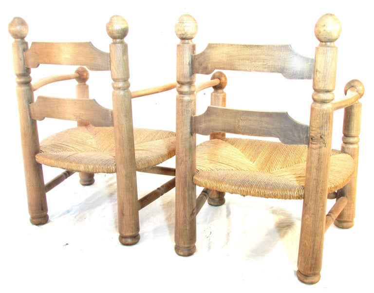Pair of French Oak Low Fireside Chairs In Excellent Condition For Sale In High Point, NC