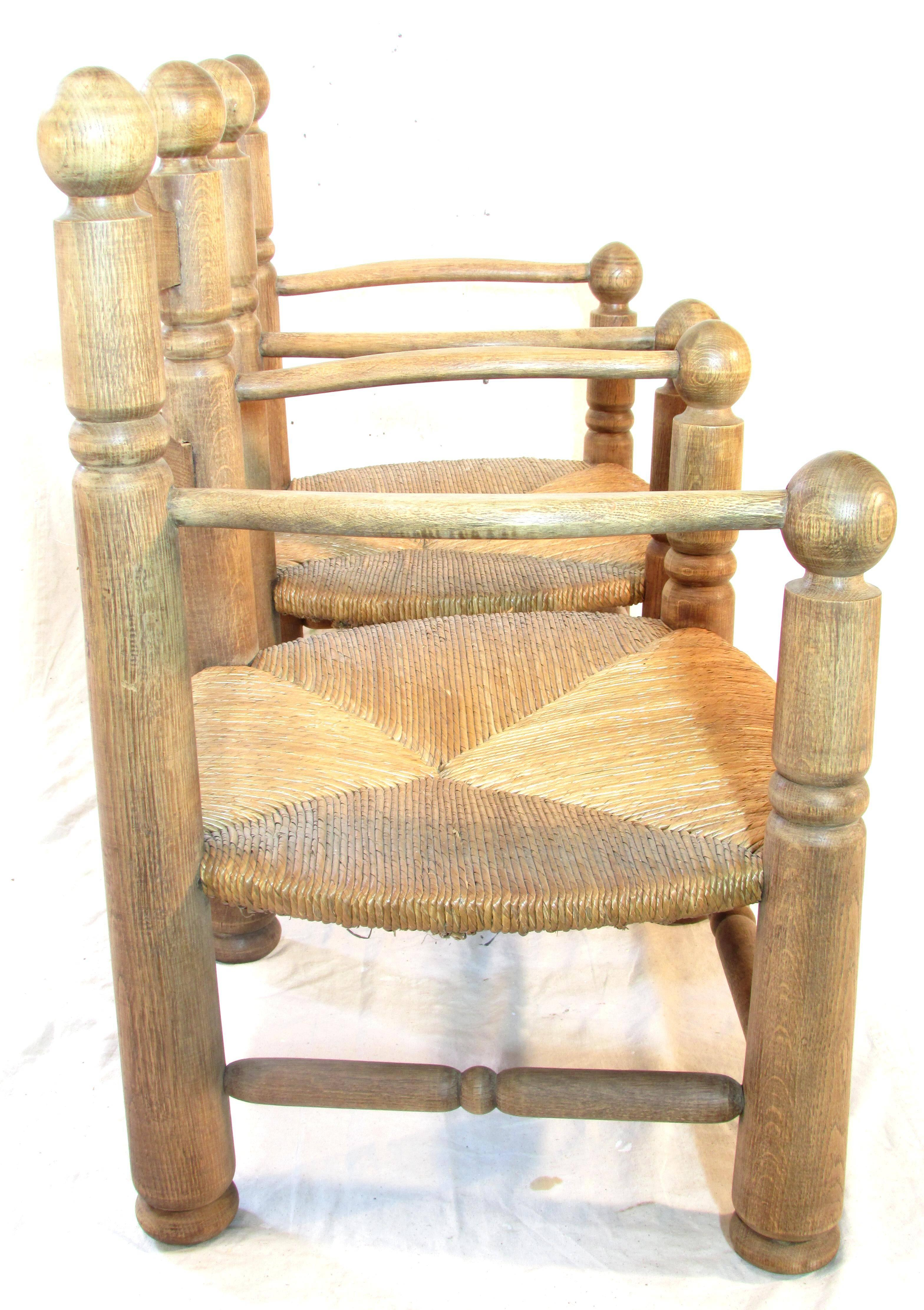 Country Pair Of French Oak Low Fireside Chairs For Sale