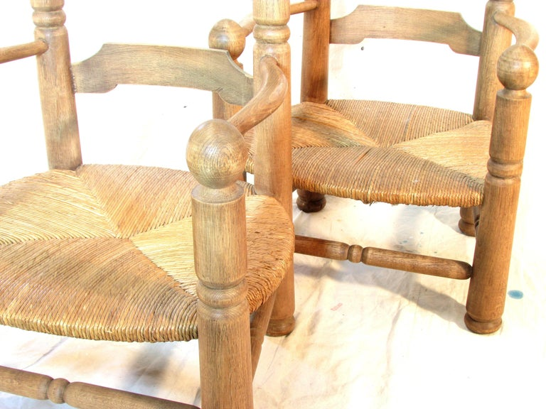 Pair of French Oak Low Fireside Chairs For Sale 2
