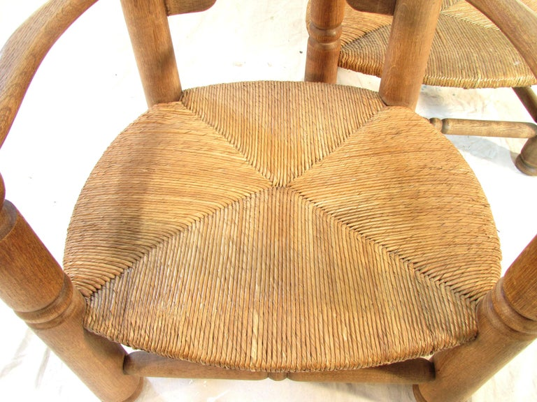 Pair of French Oak Low Fireside Chairs For Sale 1
