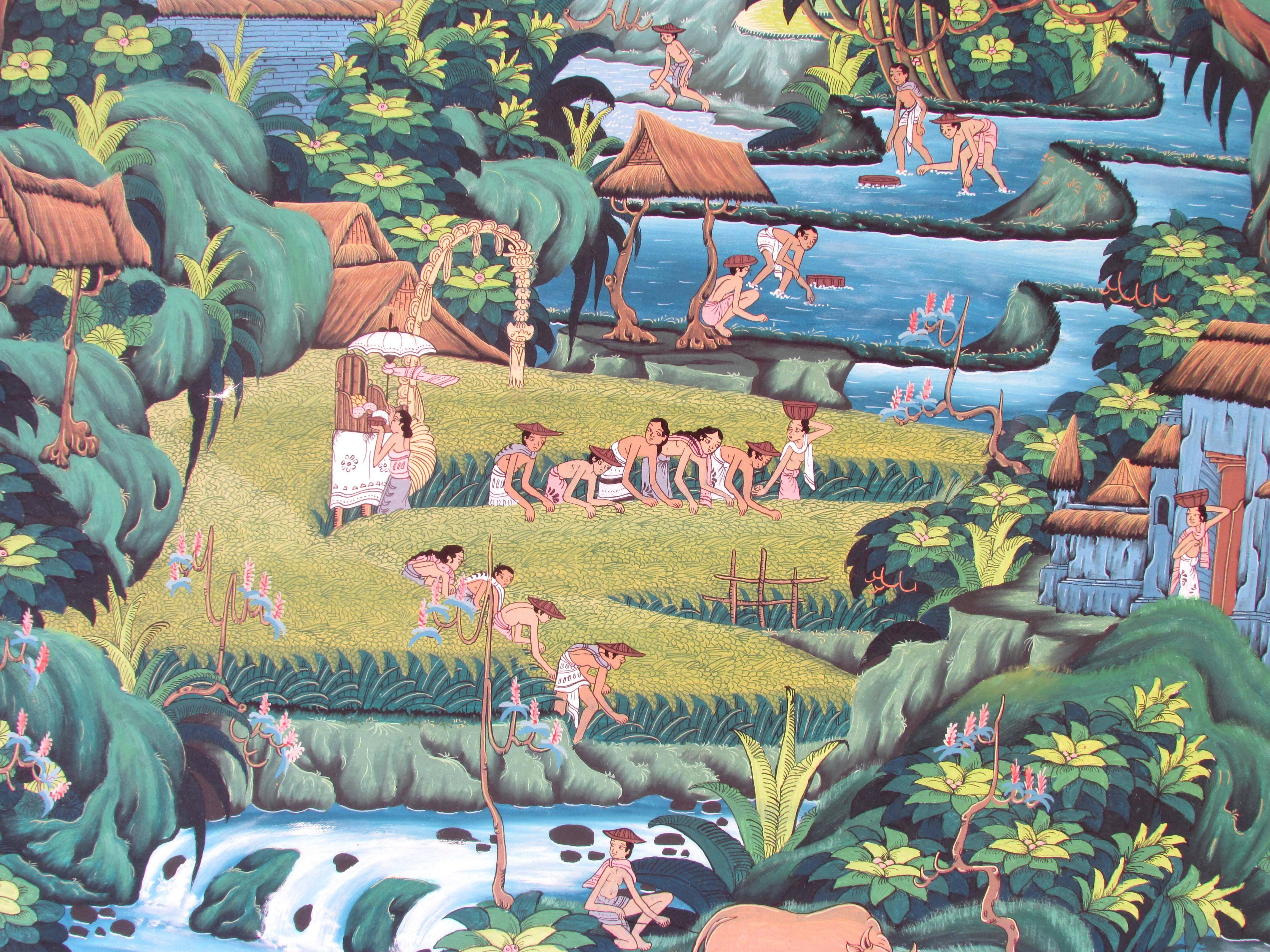 Huge Bali Painting of Terraced Rice Fields For Sale at 1stdibs