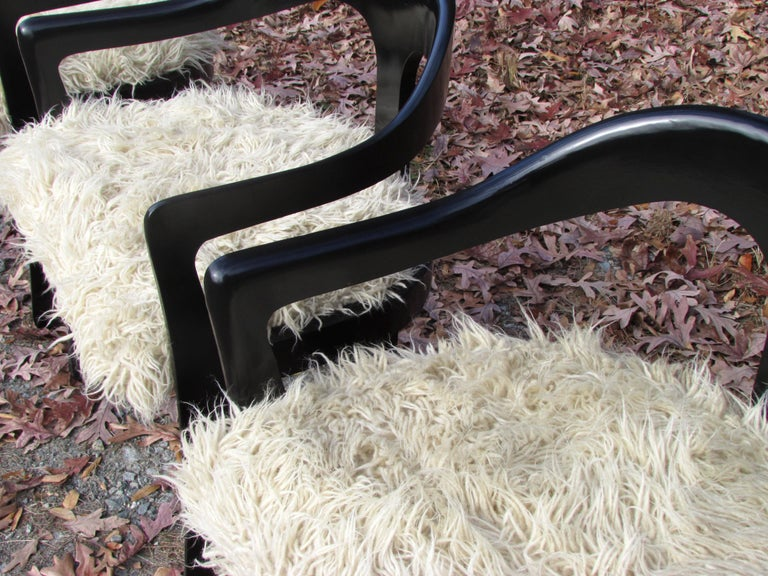 Four Broyhill Chairs with Flokati Upholstery For Sale 1