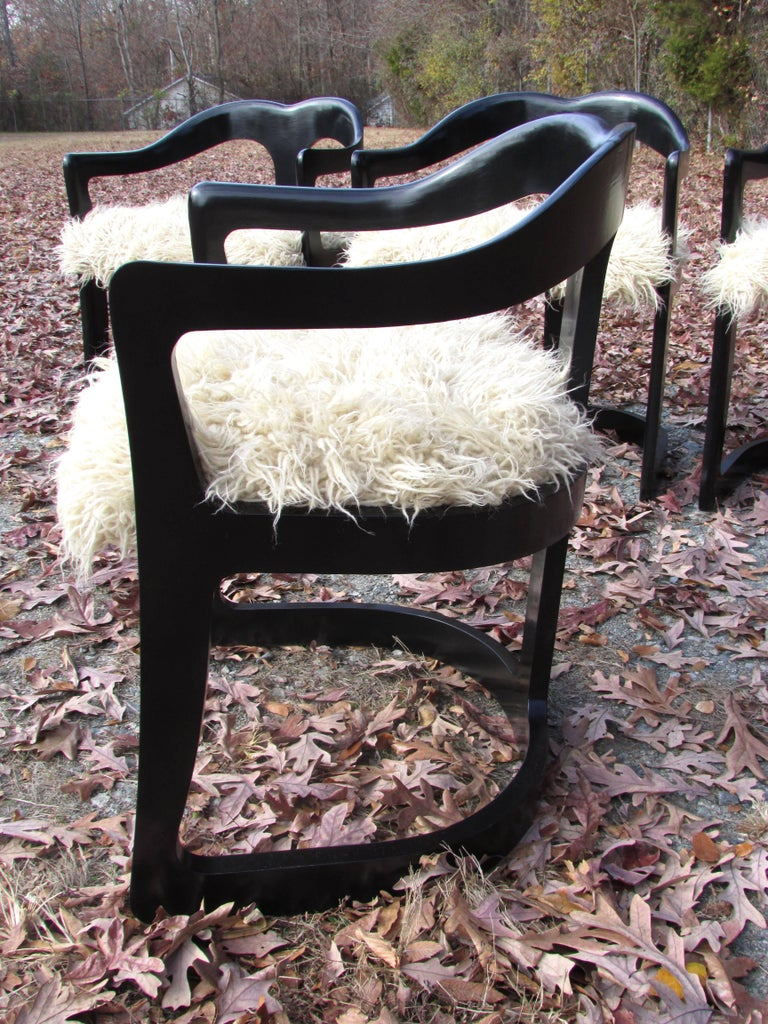 Late 20th Century Four Broyhill Chairs with Flokati Upholstery For Sale