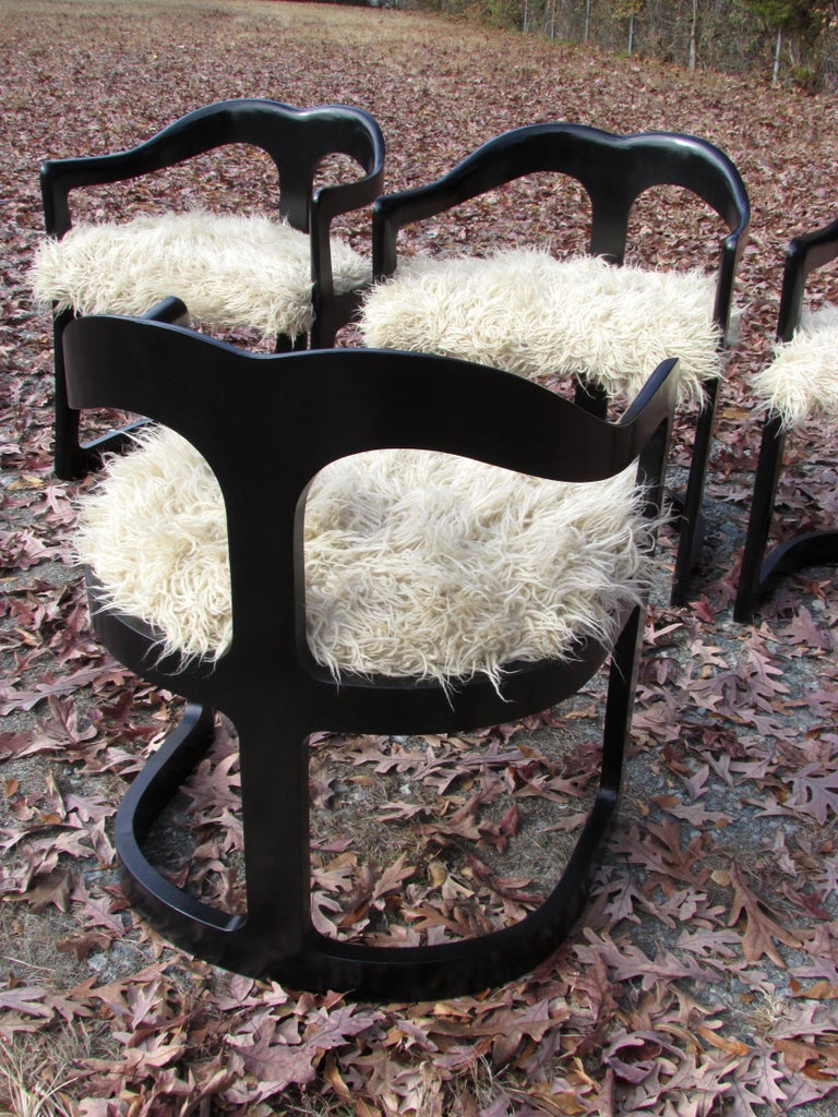 Wool Four Broyhill Chairs with Flokati Upholstery For Sale
