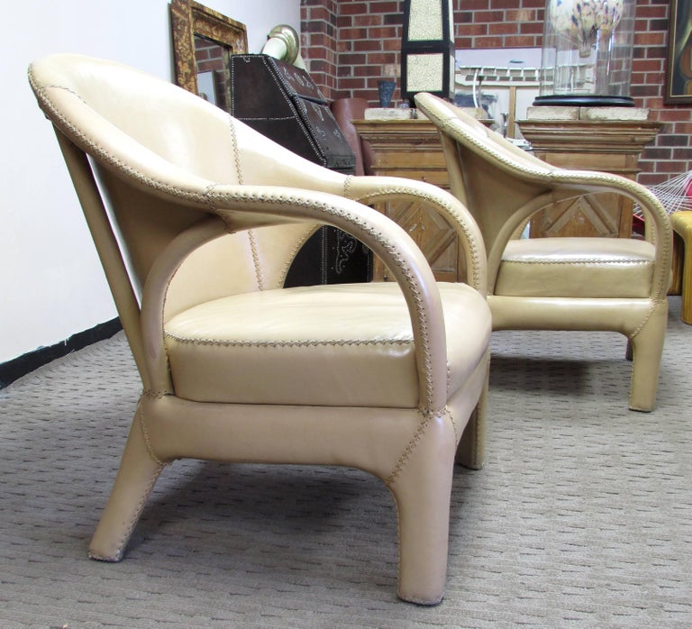 French 1970s Hand Stitched Leather Tub Chairs 3
