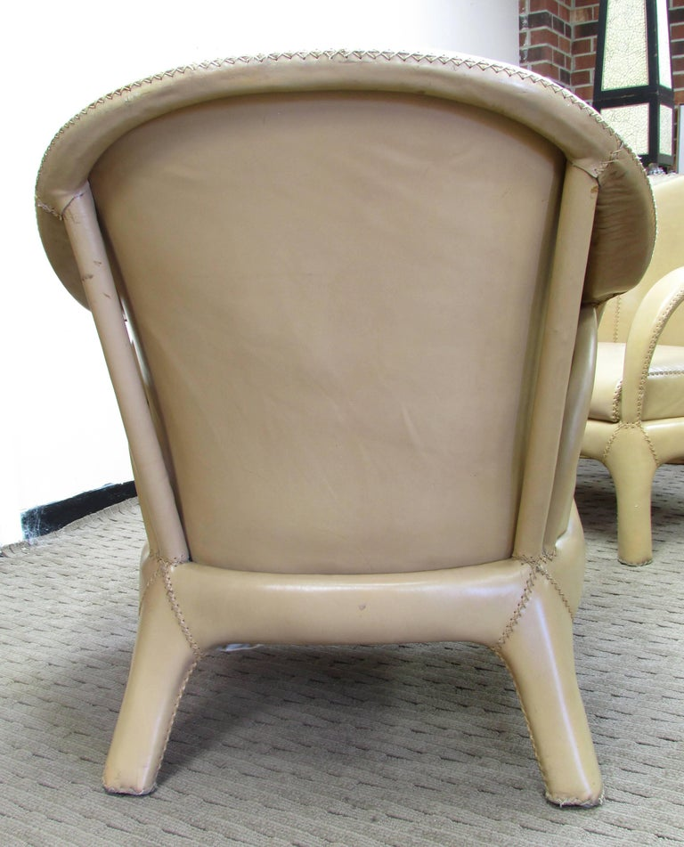 French 1970s Hand Stitched Leather Tub Chairs 8