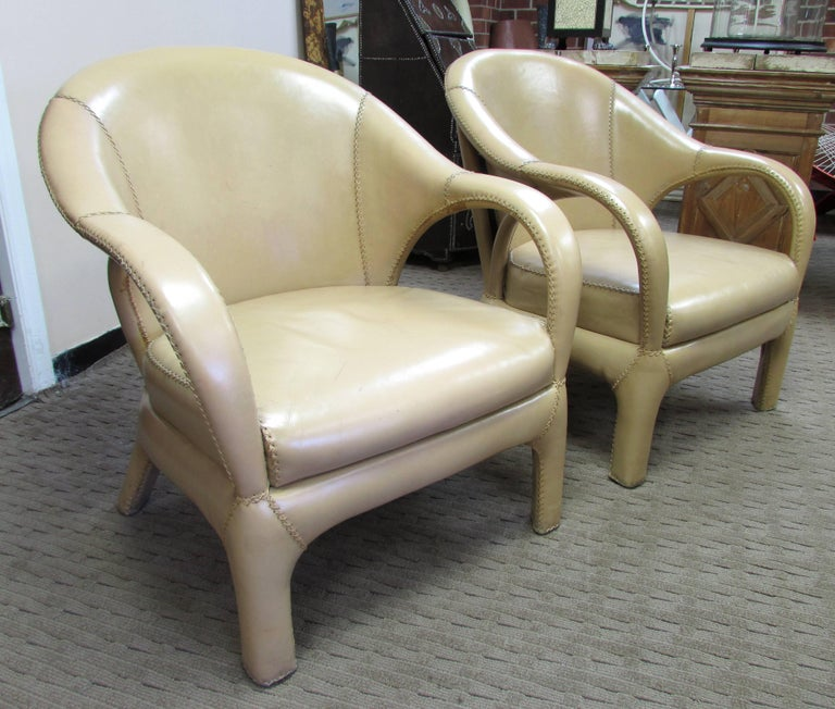 French 1970s Hand Stitched Leather Tub Chairs 2