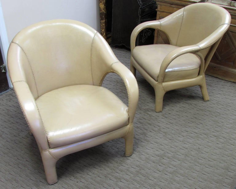 French 1970s Hand Stitched Leather Tub Chairs 5