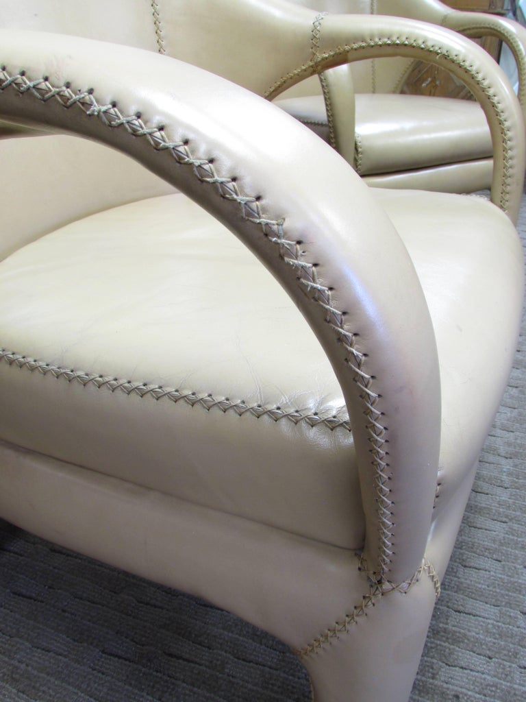 French 1970s Hand Stitched Leather Tub Chairs 10