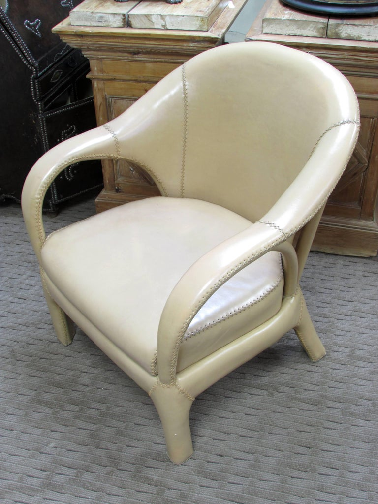 French 1970s Hand Stitched Leather Tub Chairs 6