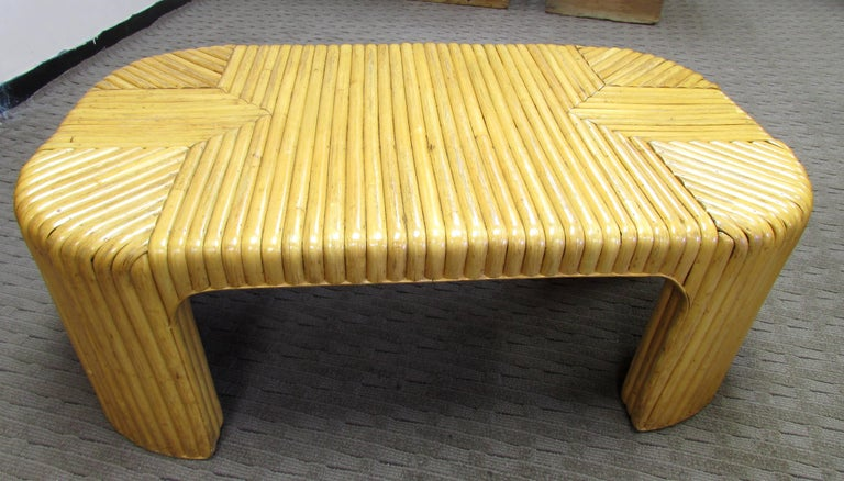 Mid-Century Modern Rattan Coffee Table For Sale