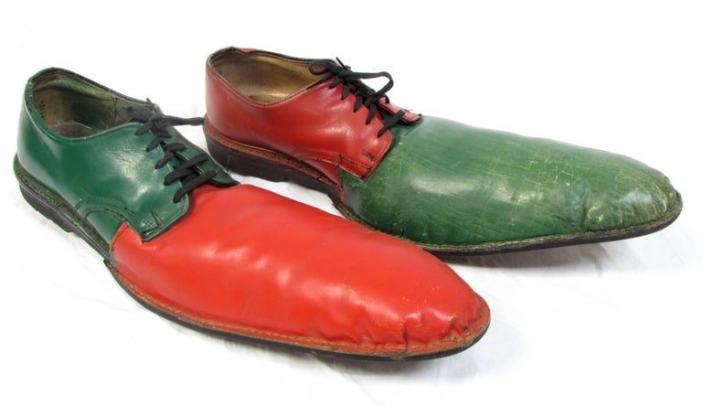 American Vintage Orange and Green Clown Shoes For Sale