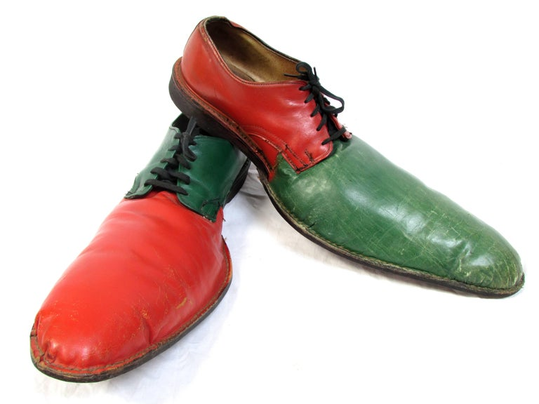 Leather Vintage Orange and Green Clown Shoes For Sale