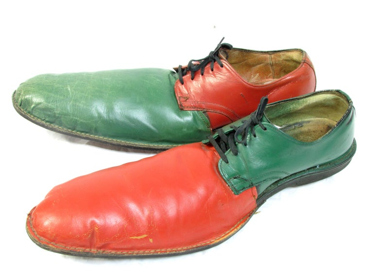 Mid-20th Century Vintage Orange and Green Clown Shoes For Sale