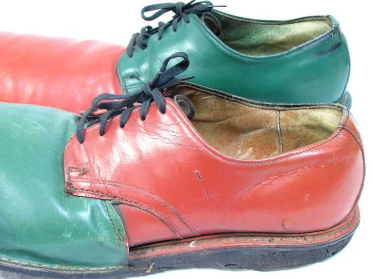 Vintage Orange and Green Clown Shoes For Sale 1