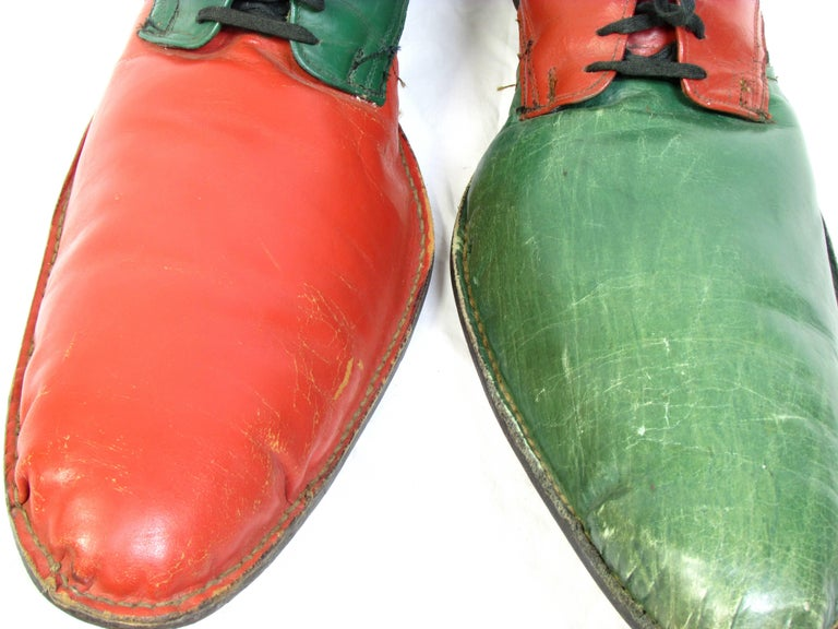 Vintage Orange and Green Clown Shoes For Sale 3