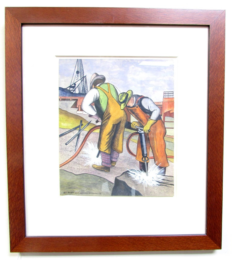 Small framed gouache of workers drilling with industrial background by artist Ben Harper painted in the 1940's WPA era and style more recent framing