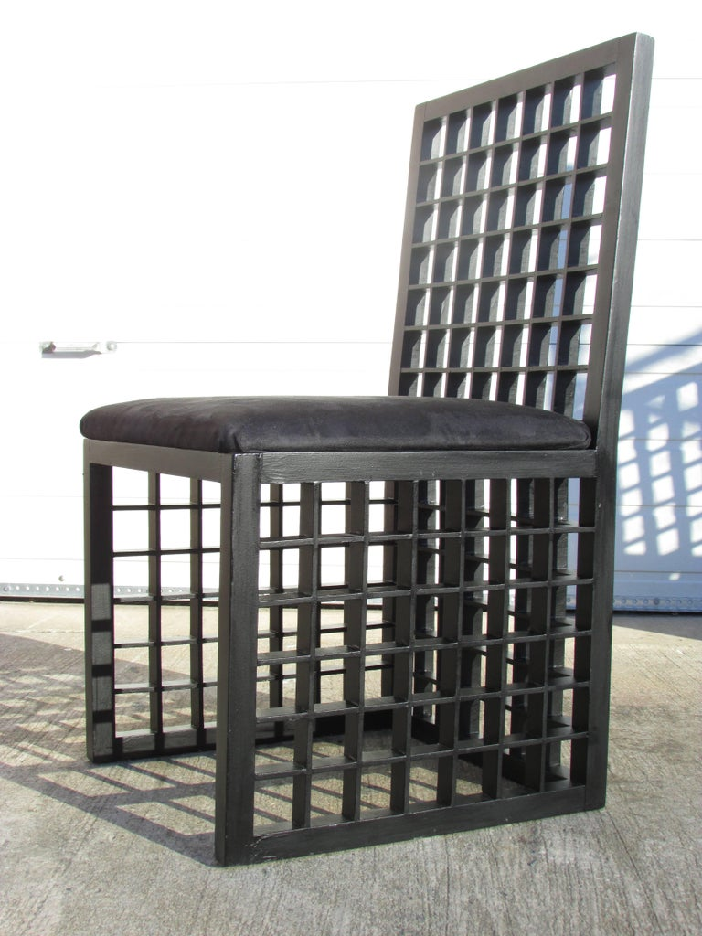 "Late 20th Century Set of Six ""Grid"" Chairs by Cy Mann For Sale"