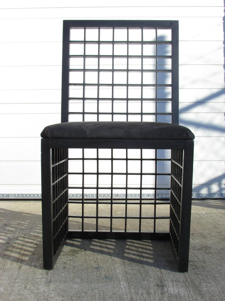 "Wood Set of Six ""Grid"" Chairs by Cy Mann For Sale"