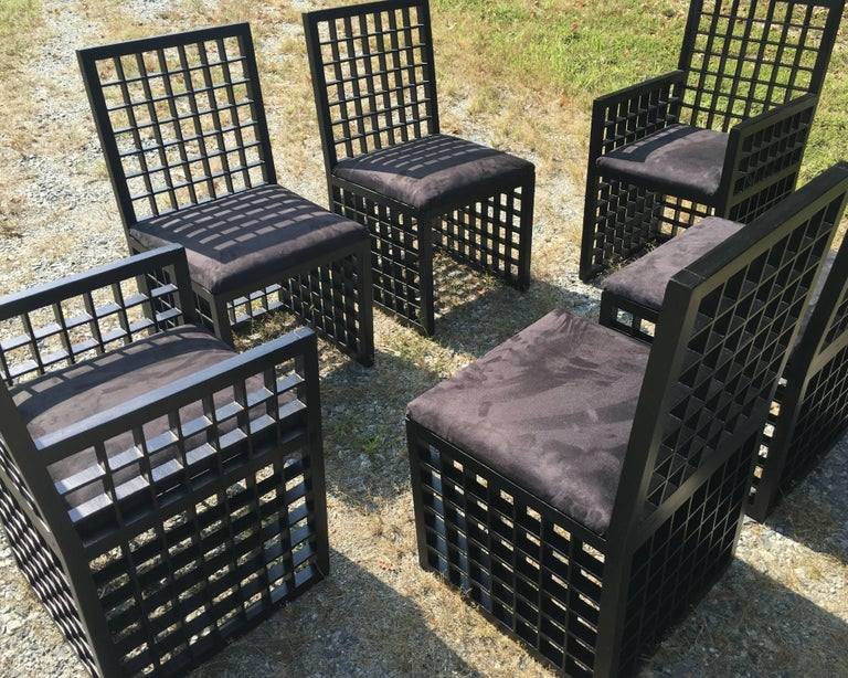 "Mid-Century Modern Set of Six ""Grid"" Chairs by Cy Mann For Sale"