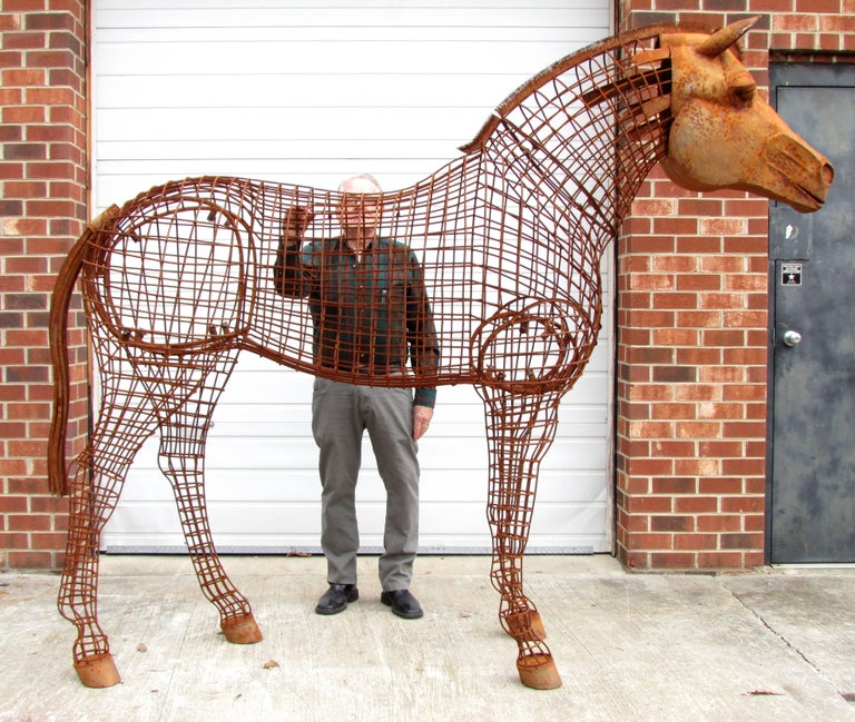 Life Size Horse Topiary Sculpture Form For Sale 4
