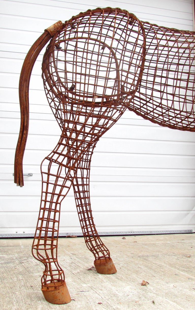 Welded Life Size Horse Topiary Sculpture Form For Sale