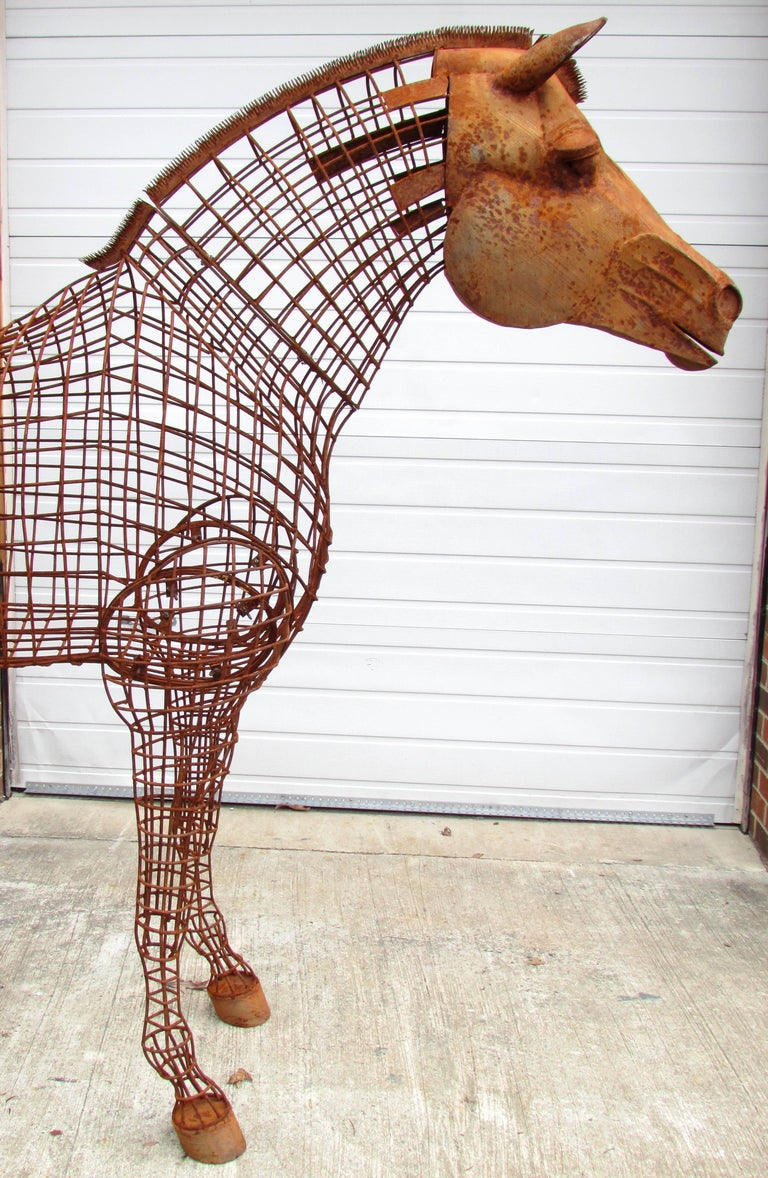 Huge handmade life size horse topiary form sculpture