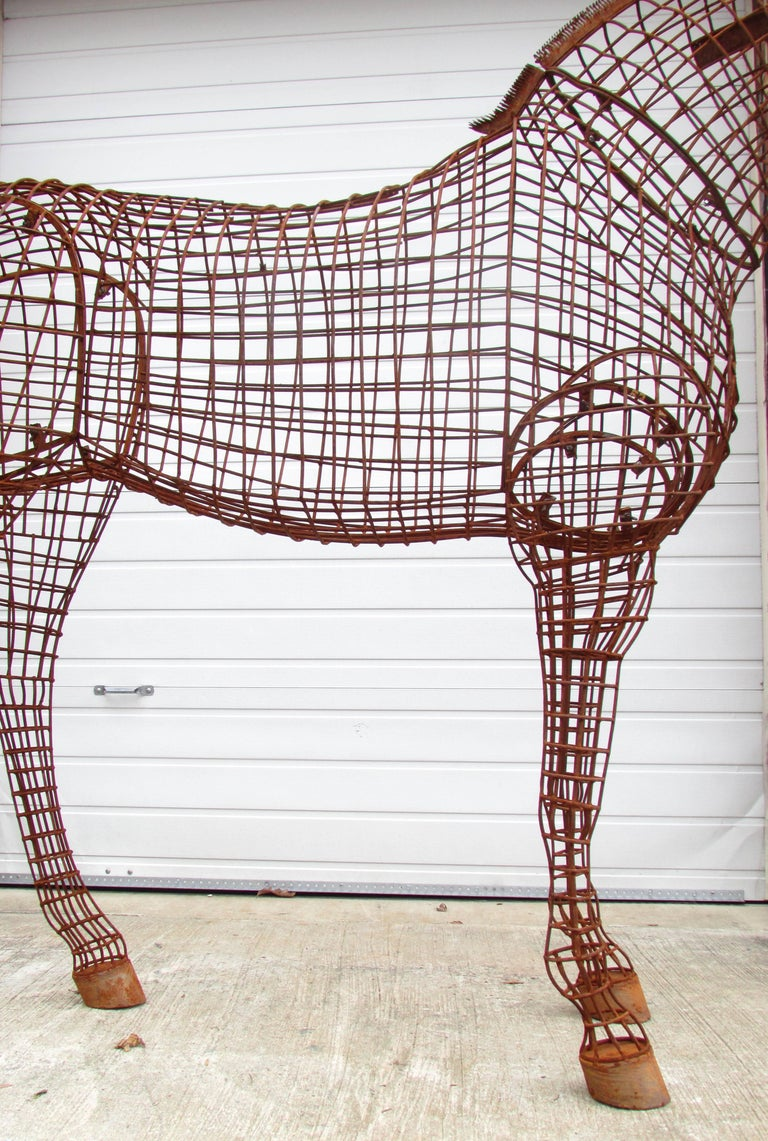 Life Size Horse Topiary Sculpture Form In Excellent Condition For Sale In High Point, NC