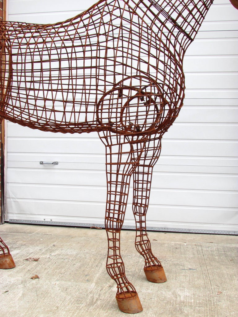 Contemporary Life Size Horse Topiary Sculpture Form For Sale