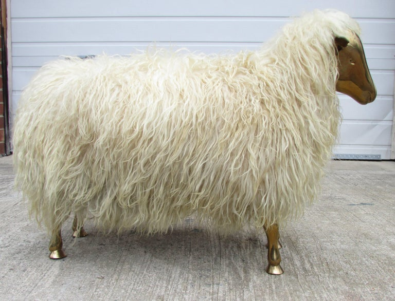 Bronze and Wool Sheep Sculpture 3