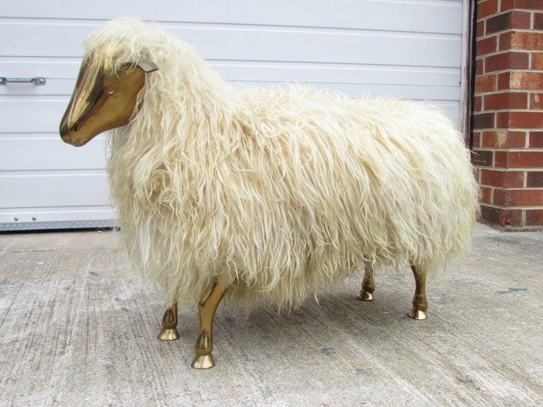 Bronze and Wool Sheep Sculpture 4