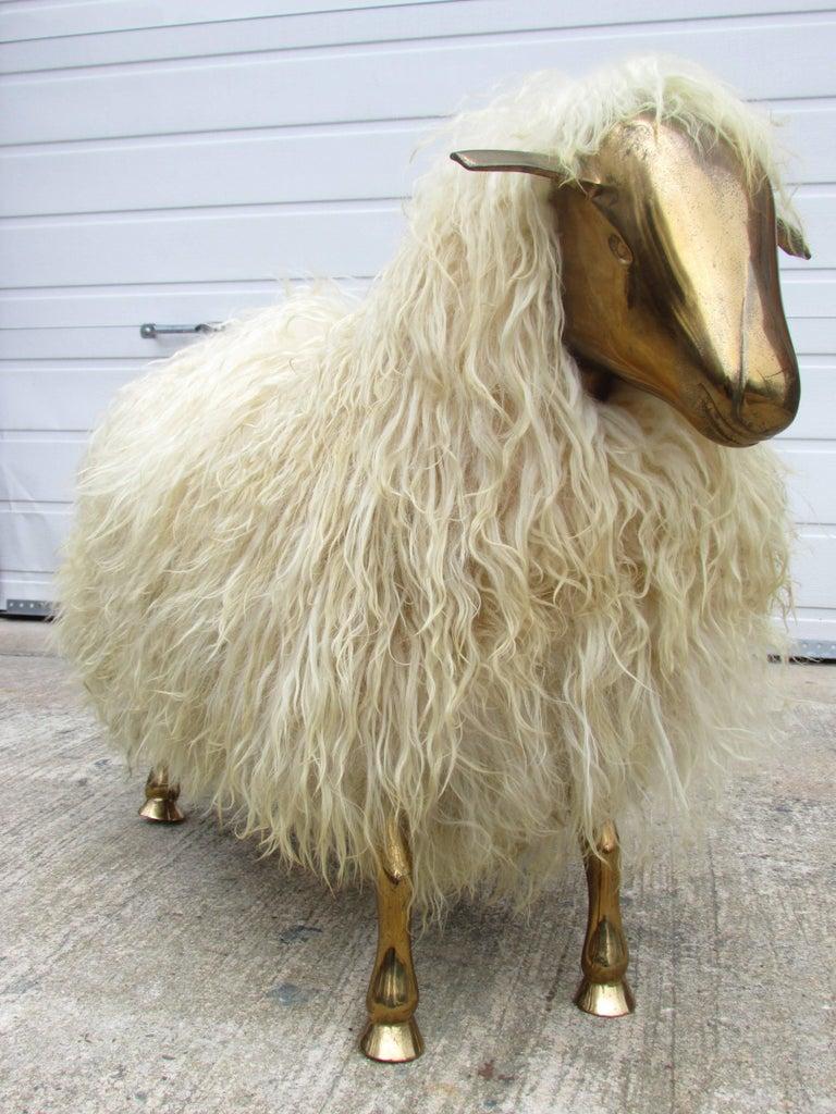 Bronze and Wool Sheep Sculpture 2